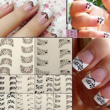 Amazon Lacing Nail Sticker 4pcs Lace Flower Design French