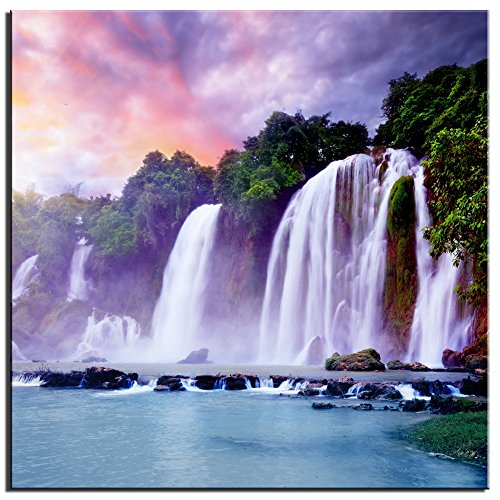 CSablnt Art colored tropical waterfall Landscape Printed on Canvas Modern HD Canvas Wall Art for Living Room Decoration Unframed(24x24inch)