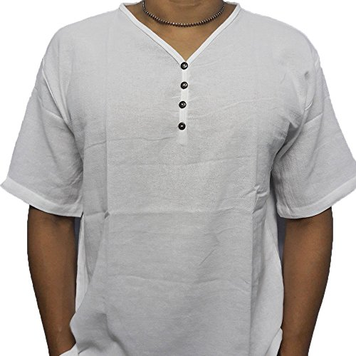 c66bbb50 White Men's Shirt V-Neck Thai Cotton Casual Summer Hippie Beach Yoga ...