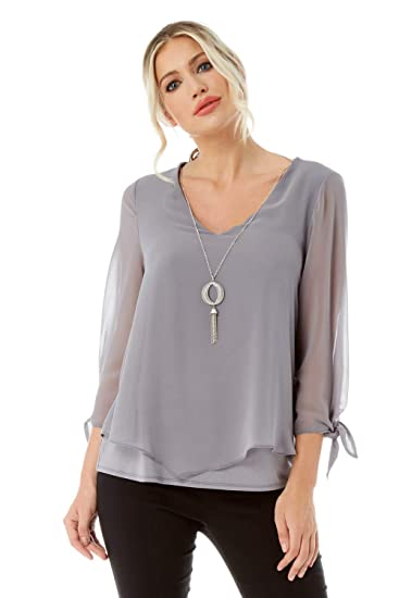 9de1530bf9b Roman Originals Women V-Neck Chiffon Top with Necklace - Ladies Chiffon  Overlay Going Out Smart Evening Dinner Date Cocktails Elegant Sparkly  Necklaces ...