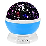 Cottontail Cosmos Star Night Light, Rotating Nighttime Projector Lamp for Nursery, Kids and Toddlers (Blue)