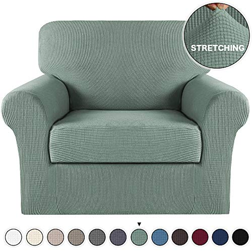 Turquoize 2 Piece Sofa Cover Stretch Chair Slipcover with Separate Cushion Cover Stretch Slipcover/Couch Cover Stylish Jacquard Spandex Chair Cover/Protector for Living Room (Dark Cyan, Chair Cover)