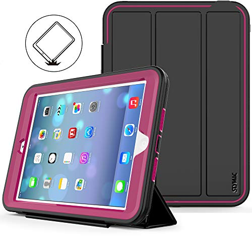 iPad Mini 1 2 3 Case (Not for mini4), SEYMAC stock Shockproof Leather Stand case,Smart Cover Case with Auto Wake/Sleep Function for Apple iPad Mini 1st, 2nd and 3rd Generation (Rose)