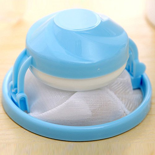 Reusable Floating Washing Machine Hair Removal Device Clothes Clean Laundry Ball Retaining Mesh Cleaning Bag Hair Filter Net Pouch Lint Trap Net Pouch (Color Random)