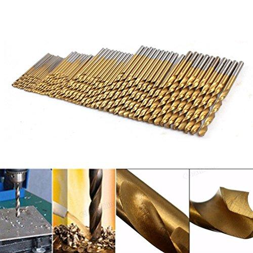 50Pcs HSS Titanium Coated High Speed Steel Twist Drill Bits Tool Set for Size 1mm 1.5mm 2mm 2.5mm 3mm