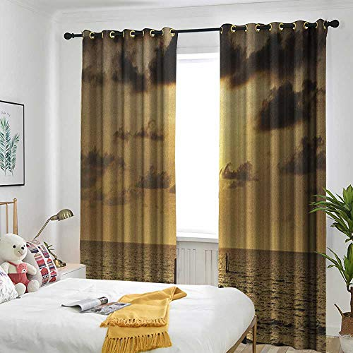 Bedroom Curtains Adjustable lace Sunshade Bag Landscape,Old Wooden Deck Pond Over The Sea Horizon Sunset Time of The Day Peaceful Scene Yellow Grey