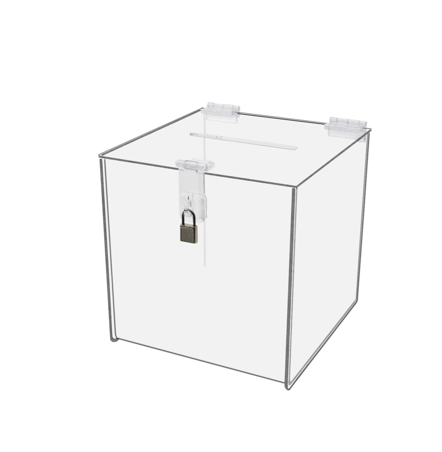 Marketing Holders Clear Locking Ballot Box 8'' x 8'' Suggestion Collection Comment Contest Cube Bundle Value Pack of 6 by Marketing Holders