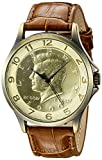 August Steiner Men's CN010YG Yellow Gold Quartz Watch with Kennedy Half Dollar Dial and Brown Embossed Leather Strap