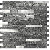 "backsplash tile designs Peel & Stick Stone Tile Backsplash - Premium Styles, Design and Finish - 11.5"" X 11.7"" (Metal Light Slate)"