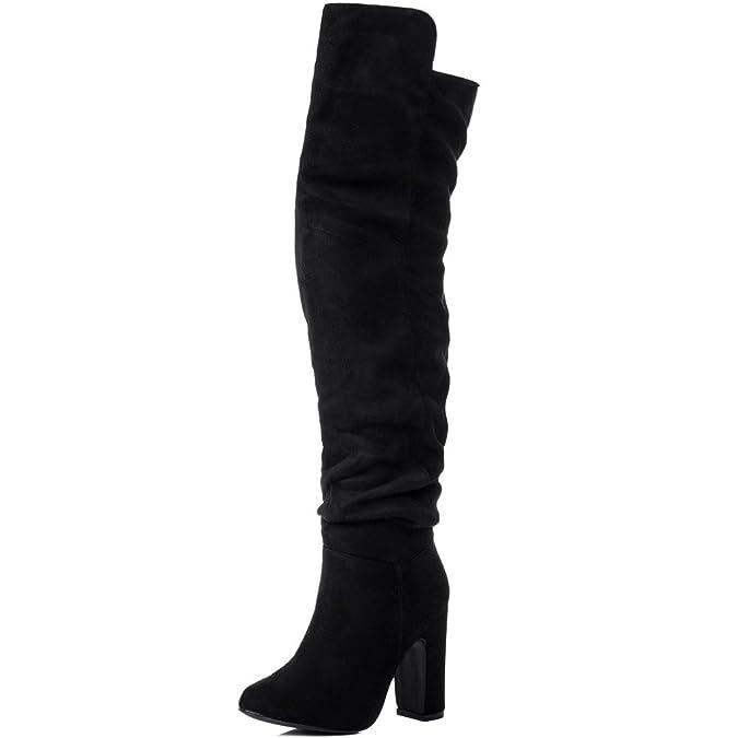 Spylovebuy ALLIGOTA Women's Wide Calf Block Heel Over Knee Tall Boots