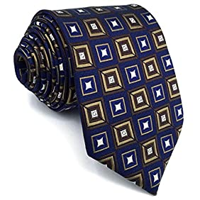 Shlax&Wing Blue Neckties Checkered Silk Tie For Men Business Suit For Men