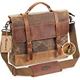 Manificent Men's Messenger Bag, 15.6 Inch Canvas Leather Shoulder Bag Briefcase