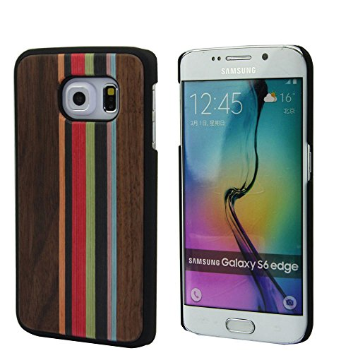 Galaxy S6 Edge Case Wood, Unique Real Wooden Bumper Fits Samsung Galaxy S6 Edge