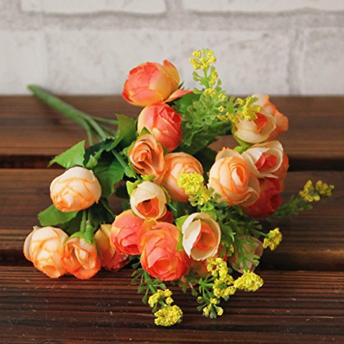 Auwer Premium Pastoral Style Artificial Flowers Simulation Real Latex Touch Bouquet Spring Emulation Faux Simulation Floral Arrangements Bridal Home Decoration Wedding Party Decor Craft (Yellow)