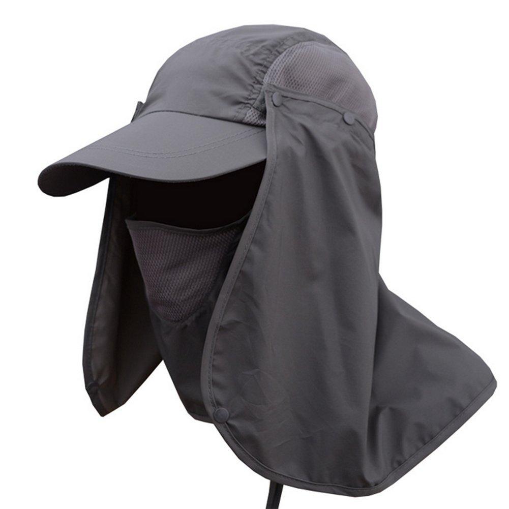 Leisial Sombrero Pesca del Sol Gorra al Aire Libre de Protección Solar Transpirable Cap Sombrero de Ala Ancha Protección UV Protege Cuello Cara para Hombre Mujer K20432489RWB106
