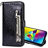 EnjoyCase Wallet Case for Galaxy A6 Plus 2018,Zipper Card Pockets Design Bright Sparkle Glitter Wrist Strap Bookstyle Magnetic Closure Bling Flip Cover for Samsung Galaxy A6 Plus 2018