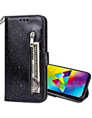EnjoyCase Wallet Case for Galaxy S8,Zipper Card Pockets Design Bright Sparkle Glitter Wrist Strap Bookstyle Magnetic Closure Bling Flip Cover for Samsung Galaxy S8