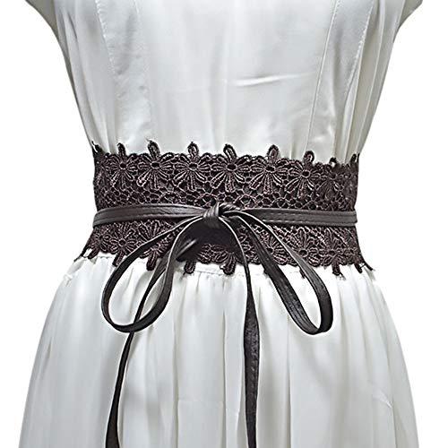 (Women's Lace-Flower Waist Belt Bow Tie Wrap Around Soft Leather Boho Corset for Dresses (Dark Coffee))