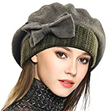 VECRY Lady French Beret 100% Wool Beret Floral Dress Beanie Winter Hat (Bow-Green)