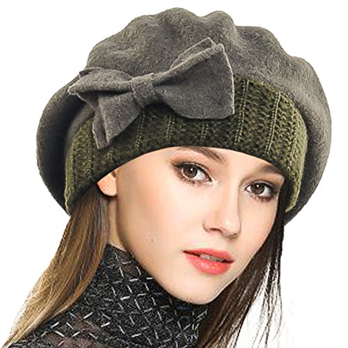 - VECRY Lady French Beret 100% Wool Beret Floral Dress Beanie Winter Hat (Bow-Green)