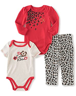 Baby Girls' 3 Piece Creeper Pants Set