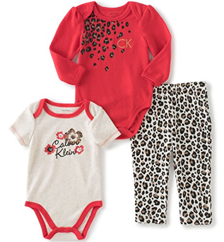 Price comparison product image Calvin Klein Baby Girls' Long/Short Sleeve Creeper with Pants, Red, 0/3 Months