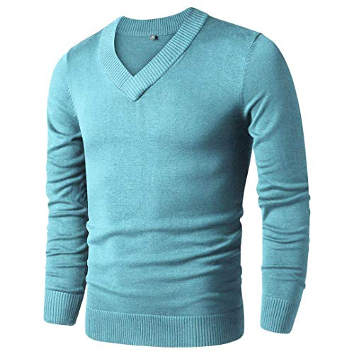 LTIFONE Mens Casual Slim Comfortably Knitted Long Sleeve V-Neck Pullover Sweaters (Light Green,L)