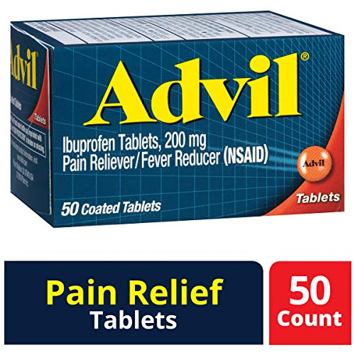 Advil (50 Count) Pain Reliever/Fever Reducer Coated Tablet, 200mg Ibuprofen, Temporary Pain - Tablets Advil