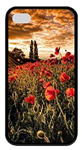 Field Of Poppies pc Black Case for iphone 4S/4