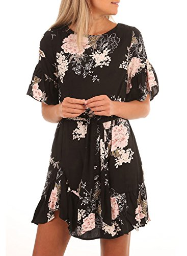 Jevole Womens Ruffle Sleeve Floral Printed Loose Ruffled Hem Short Dress
