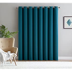 Nicole - 1 Patio Extra Wide Premium Thermal Insulated Blackout Curtain Panel - 16 Grommets - 102 Inch Wide - 84 Inch Long - Ideal for Sliding and Patio Doors (1 Panel 102x84, Teal)