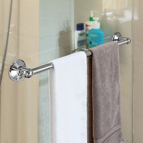 Chrome Suction Mount Bathroom Bath Shower Door Towel Bar