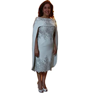 Chady Tea Length Mother of Bride Dress with Silver Sequins and Beads Plus  Size Mother of 2bc24aa04