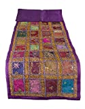 Tribe Azure PurpleTable Runner 100% Cotton 18'' x 58'' Hand Embroidered Boho Bohemian Colorful Patchwork Indian Decoration Decor Tapestry