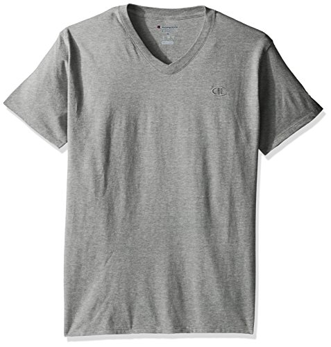 Champion Men's Classic Jersey V-Neck T-Shirt, Oxford Gray, S