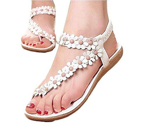 dise de para color o flores FlowerKui blanco verano mujer Sandalias bohemio de estilo Fw550Tq