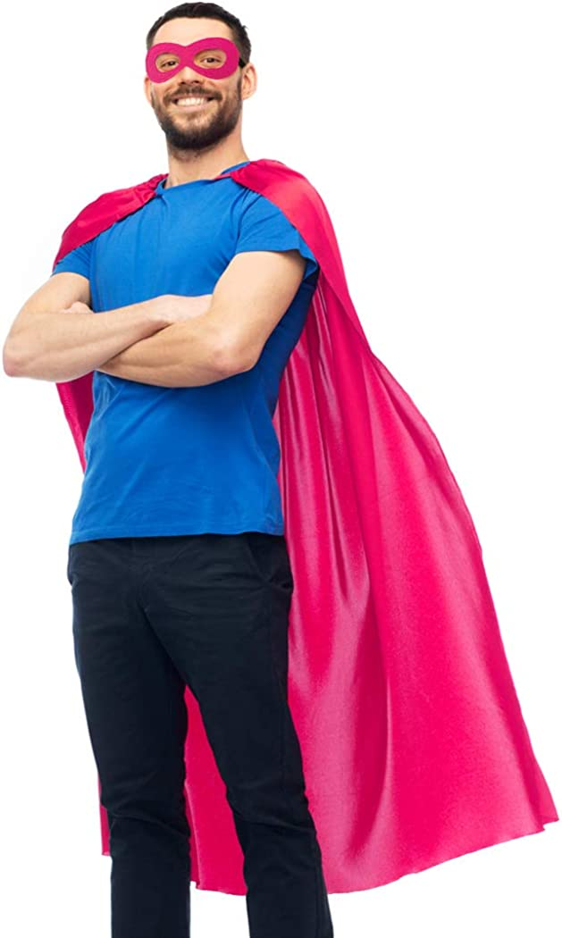 D.Q.Z Superhero Cape for Adult with Mask Men Women Super Hero Party