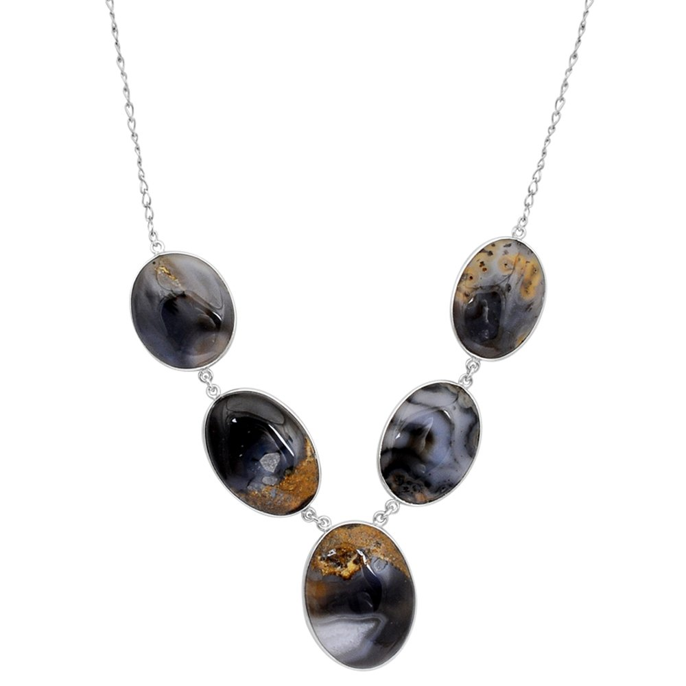 Orchid Jewelry Sterling Silver Agate Necklace