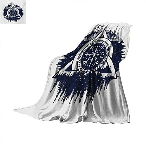 Soft Lightweight Blanket Celtic Knot with Tridents Forest and Mountains Scandinavian Culture Oversized Travel Throw Cover Blanket 70 x 60 inch Dark Blue White ()