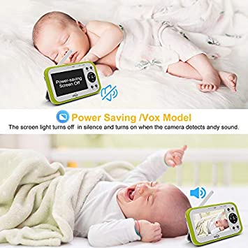LBtech 4.3 Large LCD Screen Video Baby Monitor with One Camera,Automatic Night Vision,Two-Way Talkback Audio,Temperature Detection,Power Saving Vox,Zoom in Lens,Long Range,Support Multi-Camera