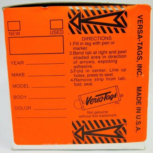 "ORANGE - Genuine Versa-Tag Orange Key Tags, Self-Protecting (250 tags per box with ""Chrome"" plated steel rings)"