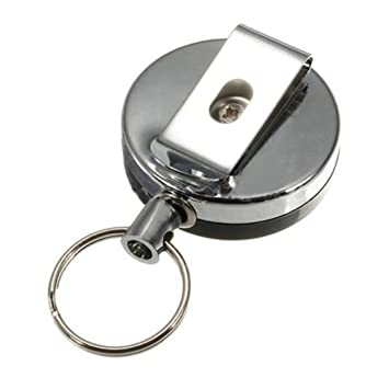 Rolson Chrome Retractable Recoil Keyring Key Ring With Belt Clip Secure Keys