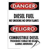 chengdar732 Label Decal Sticker Danger Diesel Fuel No Smoking Open Flames Hazard Sign 5 inches x 7 inches
