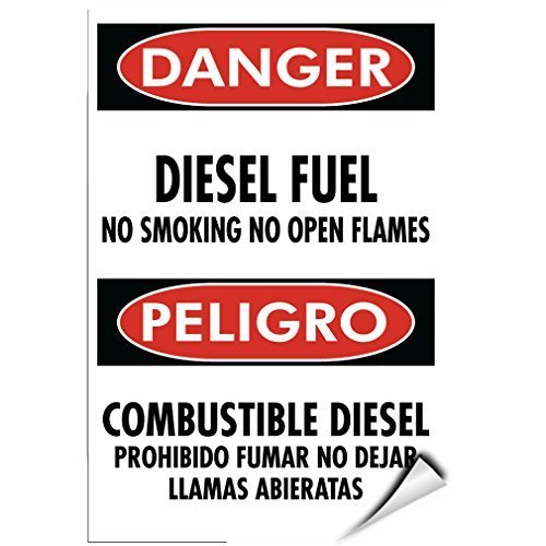 chengdar732 Label Decal Sticker Danger Diesel Fuel No Smoking Open Flames Hazard Sign 5 inches x 7 inches by chengdar732