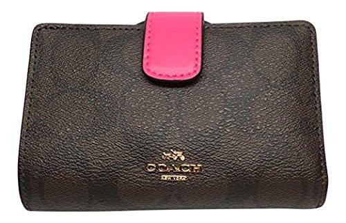 287738f6b1 Coach Signature PVC Medium Corner Zip Wallet Brown Bright Fuchsia ...