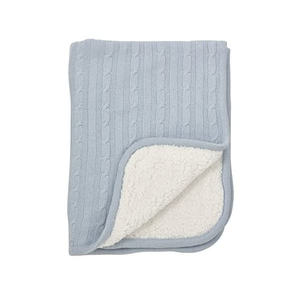 Fennco Styles Classic Cable Knit Sherpa Reversible Baby Blanket 3 Colors (Blue)