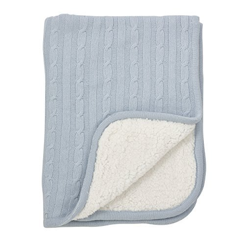 Fennco Styles Classic Cable Knit Sherpa Reversible Baby Blanket 3 Colors (Blue) ()