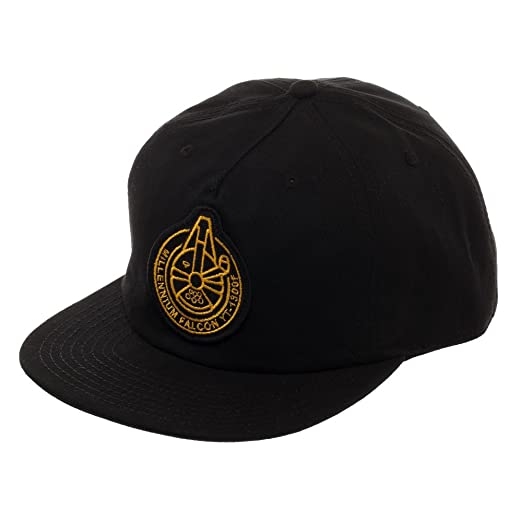 timeless design 9a6d5 58d0d Image Unavailable. Image not available for. Color  Millennium Falcon  Spacecraft Official Seal Flatbill, Star Wars Hat with Embroidered Design  Black