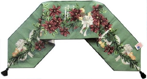Manual Christmas Poinsettia Candle Bow Unlined Tapestry Tablerunner 83-HDM-USP72 13x72