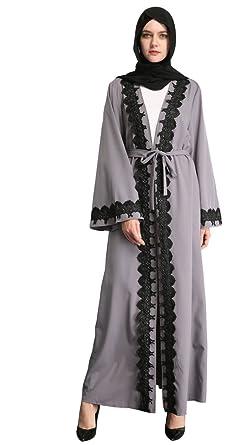 f2deaaa72158 Amazon.com: YI HENG MEI Women's Elegant Long Sleeve Muslim Islamic Maxi Open  Front with Floral Border: Clothing